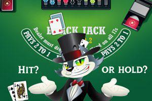 An Illustration of Cool-Cat on a Blackjack table